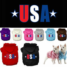 Dog Clothes USA US STAR Patriotic Coat Hoodie Sweater Jacket for Dog Dogs Puppy