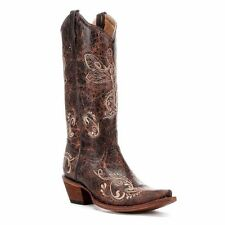 Circle G by Corral Ladies Distressed Brown/Bone Dragonfly Cowboy Boots L5001