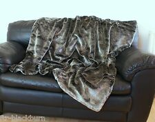 LUXURY SILVER-GREY SHIMMER FAUX FUR THROW - With faux suede backing
