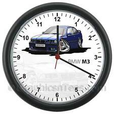 BMW E36 M3 Blue Caricature Car Cartoon Wall Clock - Personalised Gift