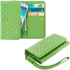 Green Luxury Wallet Flip Pouch Case Cover Card ID Holder Lanyard for Phones