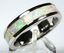 White Fire Opal Inlay 925 Sterling Silver Eternity Band Men's Ring Size 9 - 12.5