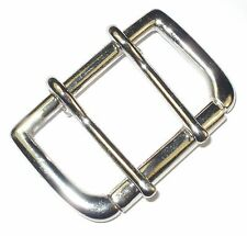 """2"""" INCH 5CM SOLID CAST BELT BUCKLE SINGLE ROLLER DOUBLE PRONG NICKEL PLATED"""