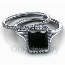 925 Sterling Silver CZ Black Solitaire Engagement Wedding Ring Band Set Love