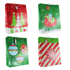 12-pc Pack Christmas Gift Bags, Assorted Designs, Gloss Lamination
