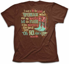 Christian Kerusso Cherished Girl Devil Says OH NO She's Up Brown Cowgirl T-Shirt