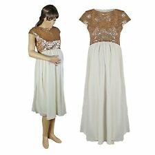NEW Maternity Clothes Dress Party Cream Gold Sequin 8 10 12 14 16