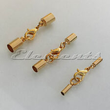 Gold Plated Kumihimo Cord End Caps Tips With Lobster Clasp Necklace Bracelet