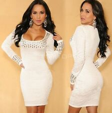 White Women's O-Neck Long Sleeve Beyonce Stretch Bodycon Dress Plus size BB