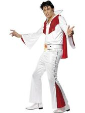 MENS ELVIS PRESLEY WHITE & RED KING ROCK ROLL SUIT FANCY DRESS COSTUME OUTFIT
