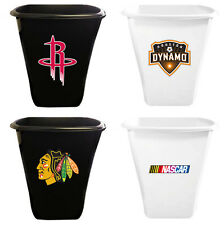 FC890 SPORTS TEAM LOGO THEMED WHITE or BLACK TRASH CAN WASTE BASKET RECYCLE BIN