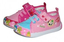 Girls canvas shoes slippers casual trainers sandals baby toddler 3 4 4.5 5 6 7UK
