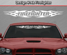 Design #148 FIREFIGHTER Tribal Flame Windshield Decal Window Sticker Graphic Car