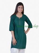 Indian Women Cotton Pintex Style Hunter Green Color Kurti Top Tunic Kameez Kurta