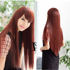 New Fashion Cute Chic Lady Women Long Straight Hair Cosplay Wig Anime Full Wigs