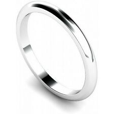 Platinum Finish 925 Sterling Silver 2mm Wedding Ring/Band D Shape Various Sizes