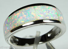 White Fire Opal Inlay Solid 925 Sterling Silver Men's Band Ring size 10-13