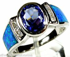 Tanzanite & Blue Fire Opal Inlay Solid 925 Sterling Silver Ring Sizes 6,7,8,9