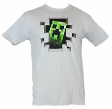 Minecraft Mens T-Shirt - Creeper Popping Through a Hole Image Light Gray