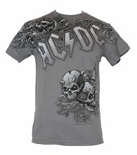 AC DC AC/DC Mens T-Shirt - Ornate Side Logo And Double Skull Pile Image Gray