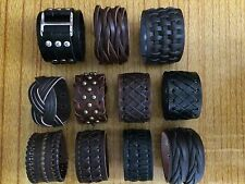 handmade adjustable leather cuff bracelets BLACK AND BROWN    ON SALE NOW
