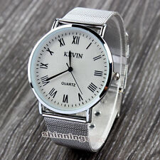 KEVIN Silver Simple Elegant Stainless Quartz Wrist Watch Unisex Collections Gift