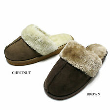 Women's Soft Fur Lined Warm Comfortable Slipper Shoes size 5-10 brown chestnut