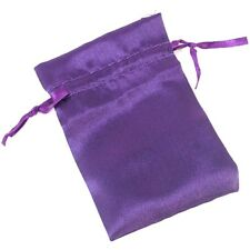PURPLE Satin Fabric Pouch Crystal Jewellery Gift Bag BUY 2 GET 1