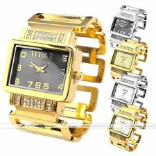 Cansnow Crystal Studded Square Case Analog Metal Wrist Bangle Cuff Lady's Watch