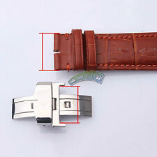 Butterfly Deployment Clasp Watch Buckle Stainless Steel Leather Strap 16 18 20mm
