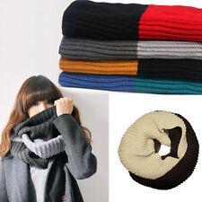 NEW Men Women Knit Winter Warm Cowl Neck Infinity 2 Circle Scarf Shawl Xmas Gift