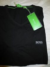 "Men's Hugo Boss Green Label shoulder logo black ""Teevn"" V-neck t-shirt tee"
