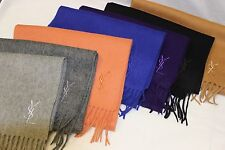 Yves Saint Laurent 100% Wool Solid Color Made In Italy Fringe Trim Scarf $225