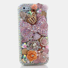iPhone 6 6S / 6S Plus 5S Bling Crystals Case Cover AB Pink Bow Flowers Crown