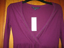 FRENCH CONNECTION PURPLE WOVEN LONG SLEEVED TOP TUNIC