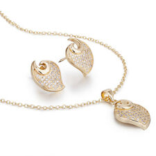 Janeo I Love You Jewellery Gift Set,Heart Pendant Necklace Earrings,14K Gold,Her