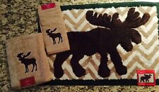 St. Nicholas Square Yuletide Moose Chevron Bath Hand Towels Rug -  You Pick