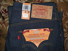 NWT Levi's 501 Shrink To Fit STF Classic Black Indigo Raw Denim Jeans 34 36 38