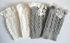 Boot Cuffs Boot Toppers Lace & Buttons Cable Knit Boot Cuffs Ivory or Gray NEW