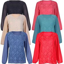 New Womens Long Sleeve Floral Lace Plus Size Chiffon Tunic Tops 16-26