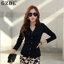 Pinup Women Korean Casual OL Long Sleeve V-Neck Button Down Tops Blouse Shirt