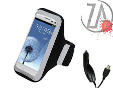 For LG Black Adjustable Vertical Pouch Sleeve Sport Armband FREE Car Charger