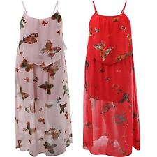 Ladies Plus size Butterfly Floral 2 layered Strappy Long Chiffon maxi Dress18-24