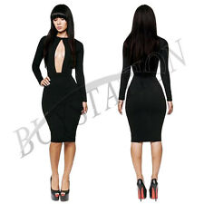 Sexy Womens Clubwear Long Sleeve Cut Out Open Front Bodycon Dress Party Cocktail