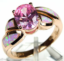 14K Rose Gold Plated Pink Topaz & Pink Fire Opal Inlay 925 Sterling Silver Ring