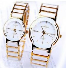 luxury couple lovers 2 watches gift set with metal & ceramics band special event