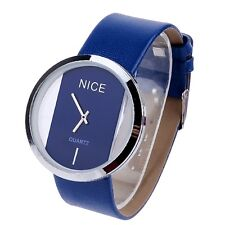 New Fashion Colors PU Leather Transparent Dial Lady Wrist Watch Wristwatch Gift