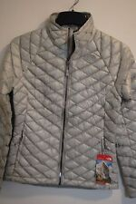 THE NORTH FACE THERMOBALL JACKET WOMENS HIGH RISE GREY METALLIC SILVER AUTHENTIC