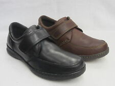 HUSH PUPPIES MENS CASUAL VELCRO SHOES 'NUMERAL M' BLACK OR BROWN LEATHER