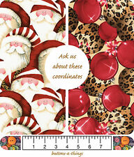 Santa Packed Ornaments Leopard Christmas  Cotton Fabric By the Yard